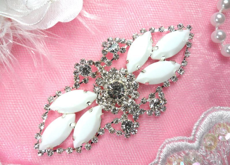 Crystal Rhinestone Embellishment Marquise White Silver Metal Back 3.25 (GB335-whsl)