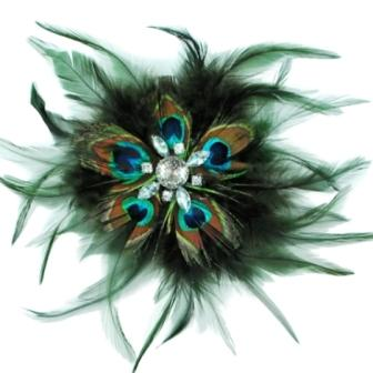 E4241 Peacock Rhinestone Feather Brooch Clip Applique
