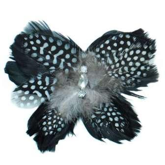 E4245  Rhinestone Feather Brooch Clip Applique