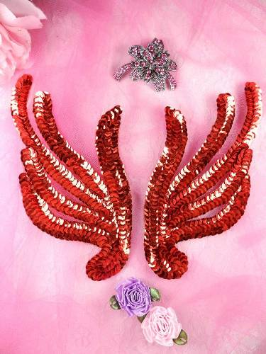 FS1061X Red Mirror Pair Sequin Appliques 6\