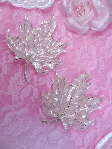 FS1337 Crystal Iris Leaf Mirror Pair Silver Beaded Sequin Appliques 3.75