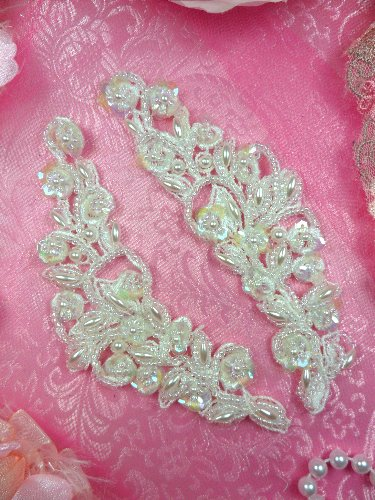 FS2670x Satin Pearl Appliques Venice Lace Floral Beaded Mirror Pair 5\