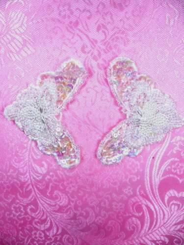 FS2672 Crystal Iris Pearl Appliques Venice Lace Floral Beaded Mirror Pair 3.25\