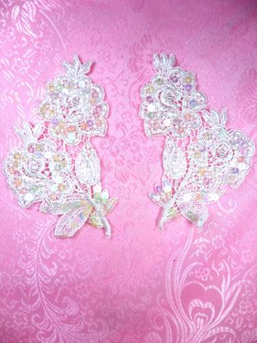 FS3228 Crystal Iris Pearl Appliques Venice Lace Floral Beaded Mirror Pair 4\