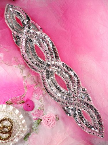 FS400 Silver Designer Sequin Beaded Applique 11\