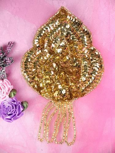 FS768 Gold Epaulet Beaded Sequin Applique 5.75