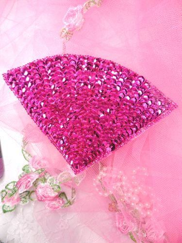 FS884 Fuchsia Fan Epaulet Beaded Sequin Applique 5\