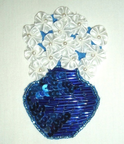 sequin beaded applique blue flower pot vase