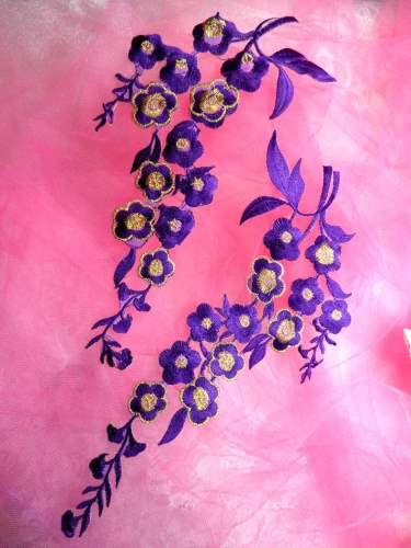 RMGB124X REDUCED Purple Gold Embroidered Floral Mirror Pair Appliques 10\