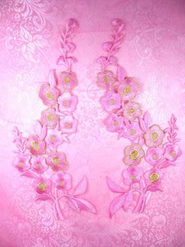 OSGB124 Pink Gold Embroidered Floral (left side only) Applique 10\