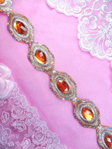 REDUCED Orange Silver Metallic Embroidered Jewel Trim Iron On 1.5 GB143