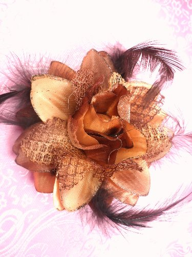 Gb18 Brown Satin Lace Rose Feather Applique/Brooch/Hairbow  3\