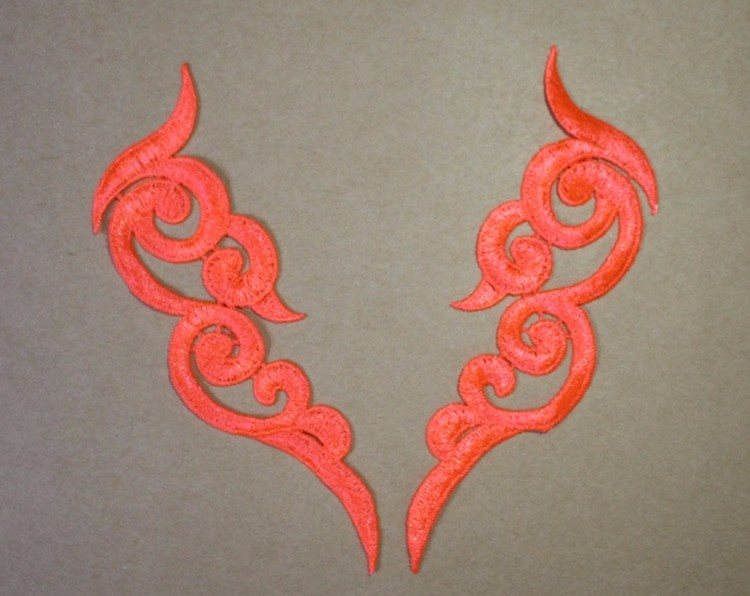 Embroidered Appliques Neon Orange Scroll Design Mirror Pair Motifs Patch 6.75 (GB249X)