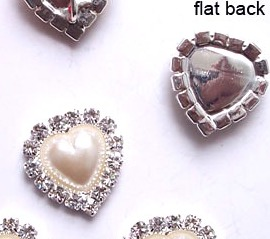 GB26 Bridal Invitation Rhinestone Heart Applique Embellishment Silver Pearl Crystal