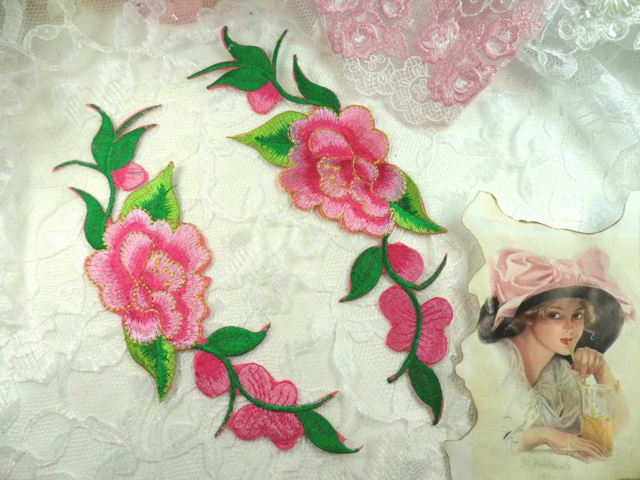 Pink Gold Embroidered Rose Floral Mirror Pair Appliques DIY Home Decor 8 (GB295X)
