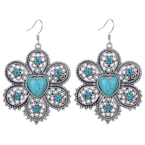 JW3 Rhinestone Turquoise Earrings Flower Heart Silver Metal Fashion Jewelry