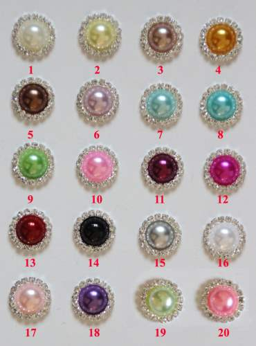 GB367 White Pearl Rhinestone Button 7/8\