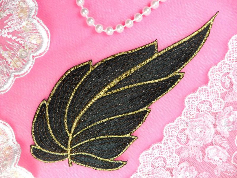 Leaf applique black brown and gold metallic embroidered