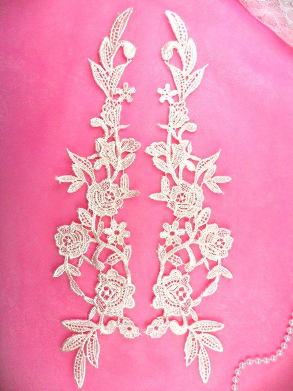 Embroidered Appliques Peach Mirror Pair Floral 13 (GB458X-pch)