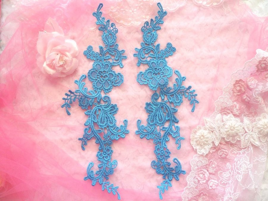 Embroidered Appliques Turquoise Mirror Pair Floral 12 (GB459X)