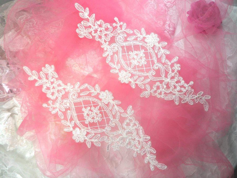 Applique White Venice Lace Victorian Mirror Pair Bridal Motif 9 (GB474X)