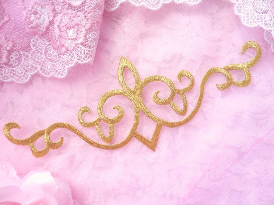 Iron On Applique Embroidered Gold Metallic Patch 7 (GB485)