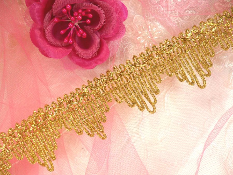 Gold Trim Metallic Victorian Edging for Sewing and Crafts DIY 1.5 (GB499)
