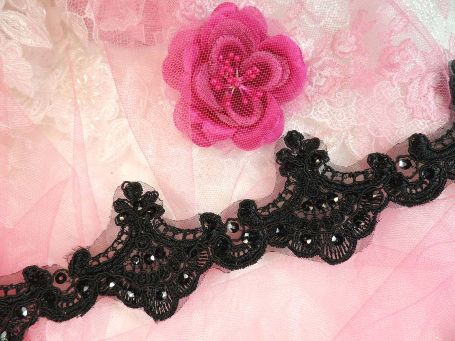Black Trim Sequined Victorian Trimming Embroidered Lace for Sewing  2.75 (GB500)