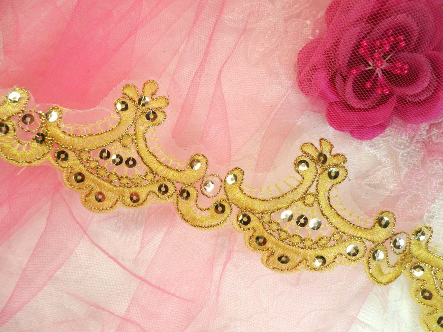 Gold Trim Metallic Sequined Victorian Trimming Embroidered Lace  2.75 (GB500)