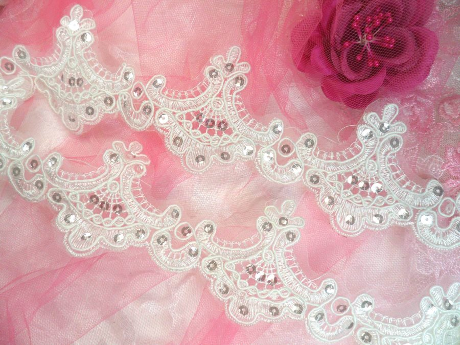 White Bridal Trim Crystal Sequined Victorian Trimming Embroidered Lace  2.75 (GB500)