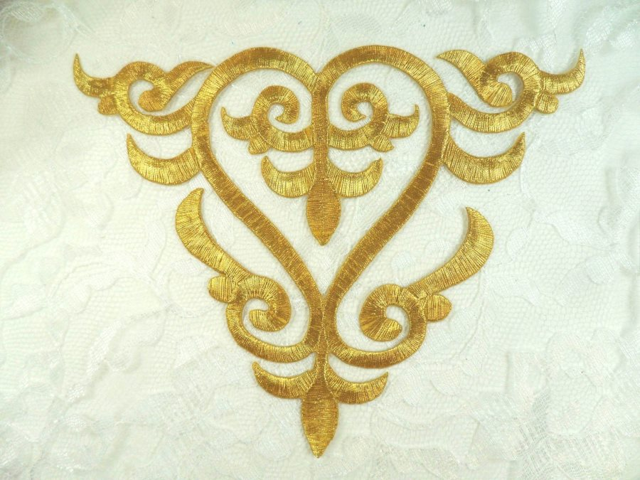 Embroidered Applique Gold Metallic Iron On Patch DIY Clothing Designs 7 (GB502)