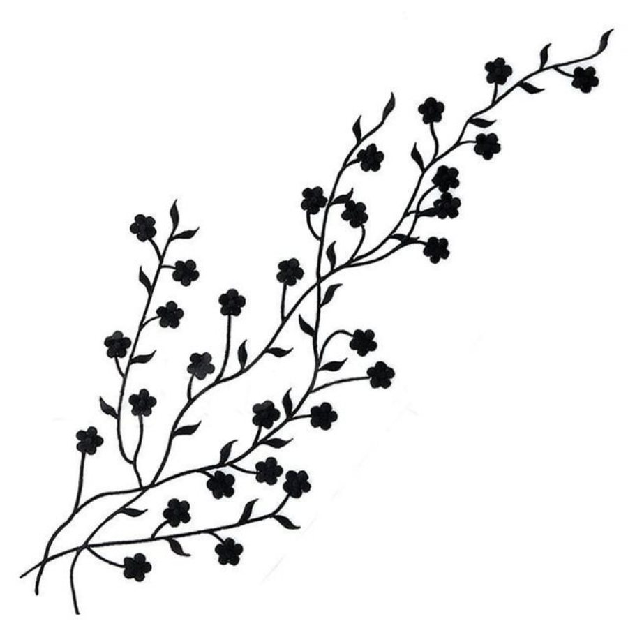 Embroidered Applique Black Floral Vine Iron On Patch DIY Clothing Designs 17 (GB503)