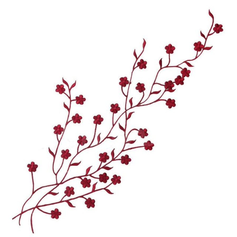 Embroidered Applique Burgundy Floral Vine Iron On Patch DIY Clothing Designs 17 (GB503)