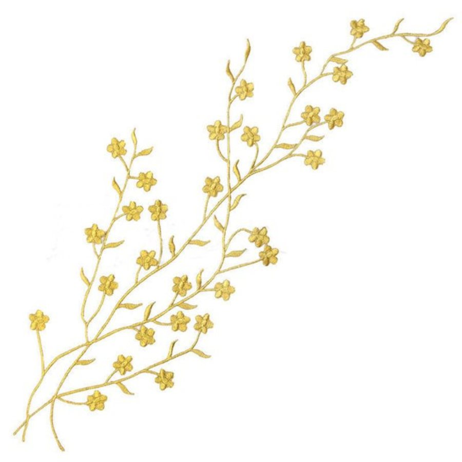Embroidered Applique Gold Metallic Floral Vine Iron On Patch DIY Clothing Designs 17 (GB503)