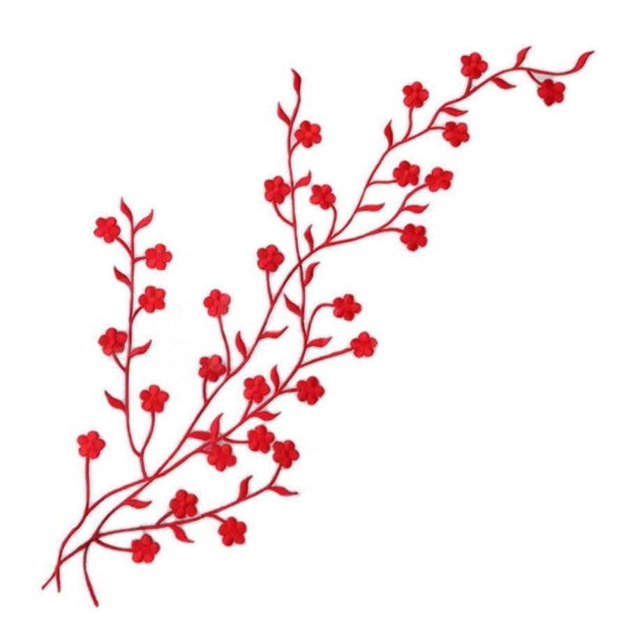 Embroidered Applique Red Floral Vine Iron On Patch DIY Clothing Designs 17 (GB503)