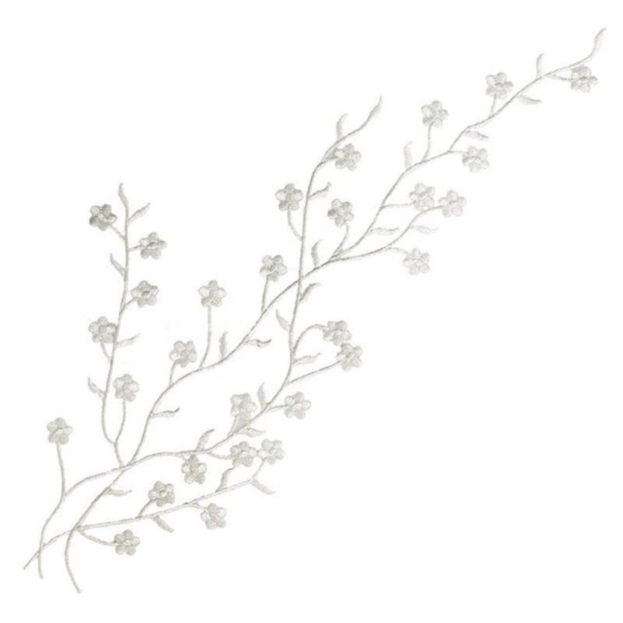 Embroidered Applique Silver Floral Vine Iron On Patch DIY Clothing Designs 17 (GB503)