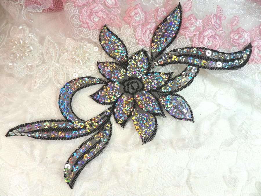Black Silver Holographic Flower Sequin Embroidered Applique 9.5 (GB58)