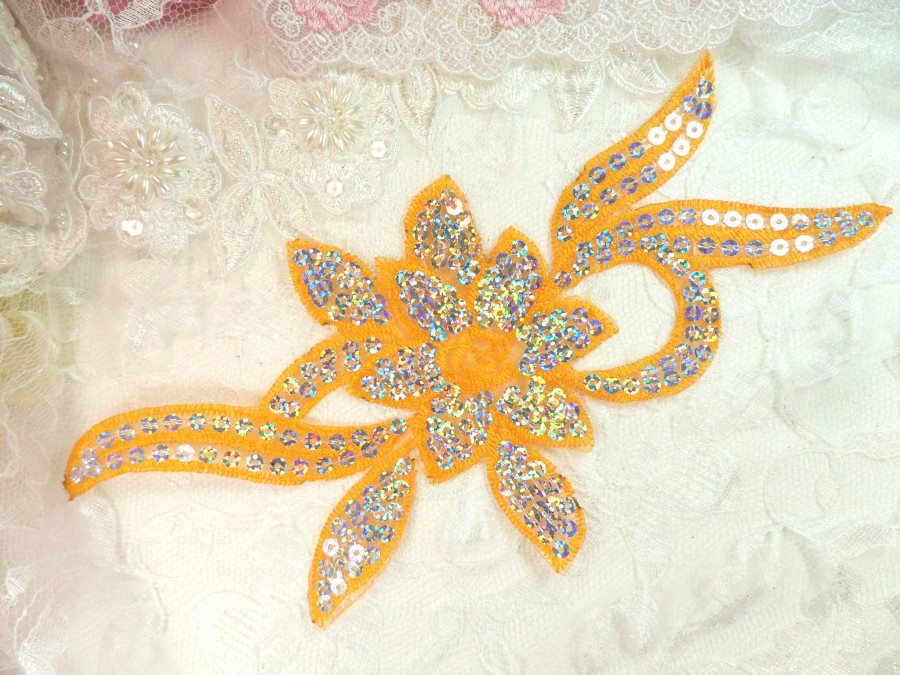 Orange Silver Holographic Flower Sequin Embroidered Applique 9.5 (GB58)