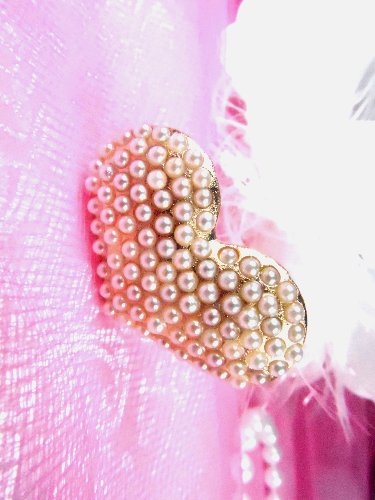 GB83 Gold Pearl Heart Bridal Pin Hair Bow 1.25\