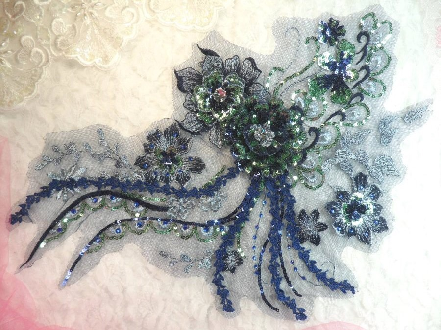 Embroidered 3D Applique Navy Green Floral Sequin Patch Rhinestone Accented 14 (DH75)