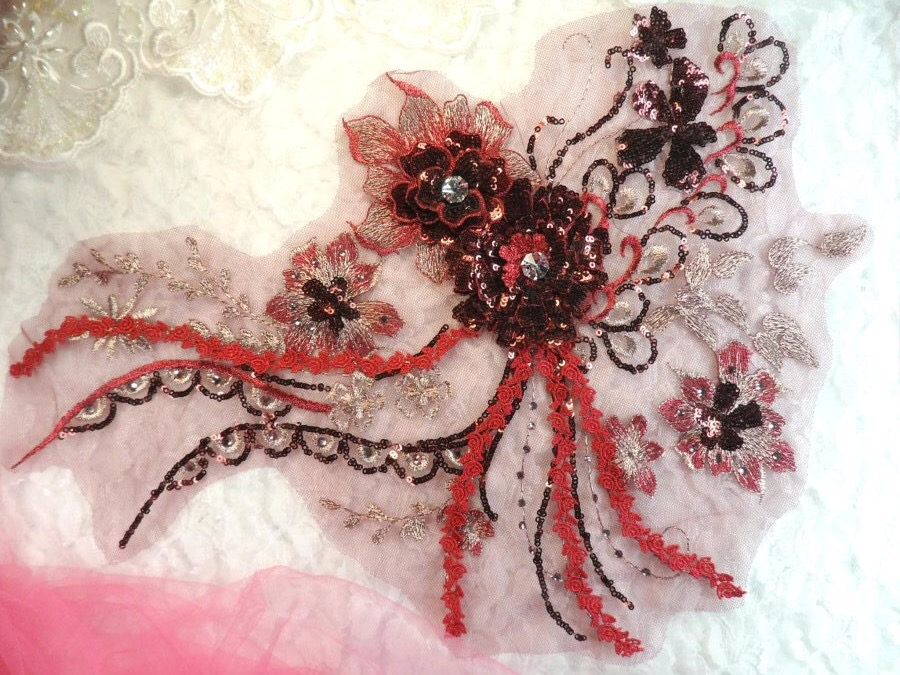 Embroidered 3D Applique Burgundy Wine Floral Sequin Patch Rhinestone Accented 14 (DH75)