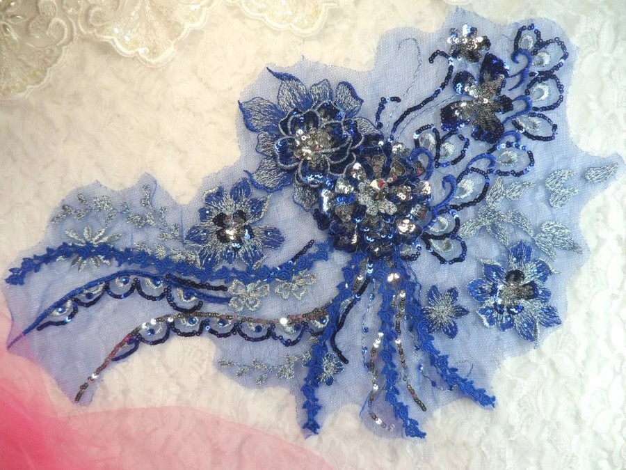Embroidered 3D Applique Blue Silver Floral Sequin Patch Rhinestone Accented 14 (DH75)