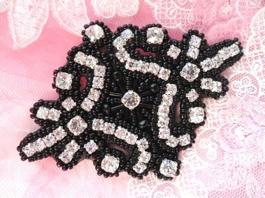 Glass Crystal Rhinestone Applique Black Beaded Iron On Embellishing Patch High Quality 4 (JB115)