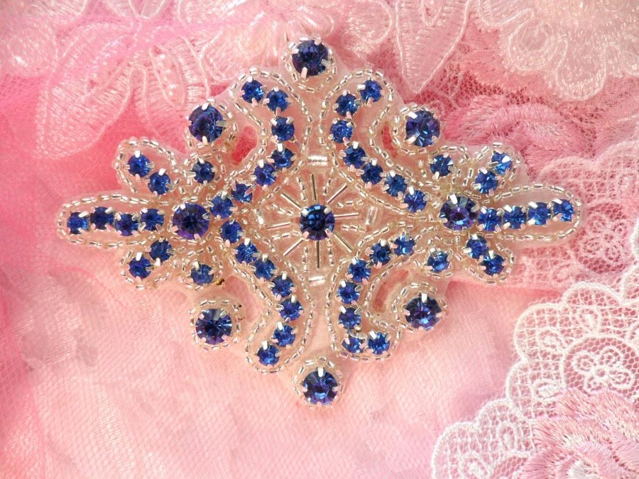 Blue Glass Rhinestone Applique Silver Beaded Iron On Embellishing Patch High Quality 4 (JB115)