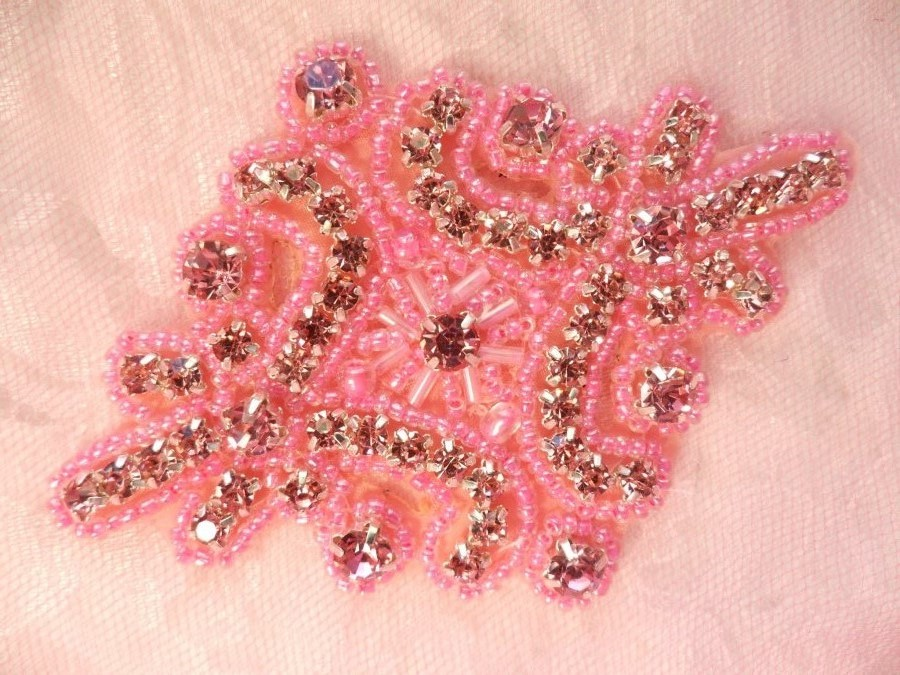 Glass Rhinestone Applique Pink Beaded Iron On Embellishing Patch High Quality 4 (JB115)