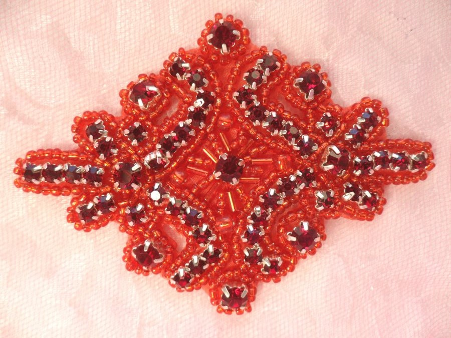 Glass Rhinestone Applique Deep Red Beaded Iron On Embellishing Patch High Quality 4 (JB115)