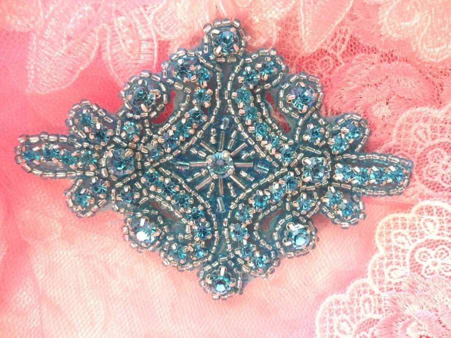 Glass Rhinestone Applique Turquoise Beaded Iron On Embellishing Patch High Quality 4 (JB115)