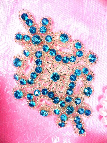 JB115  Turquoise Applique Crystal Rhinestone Silver Beaded 4