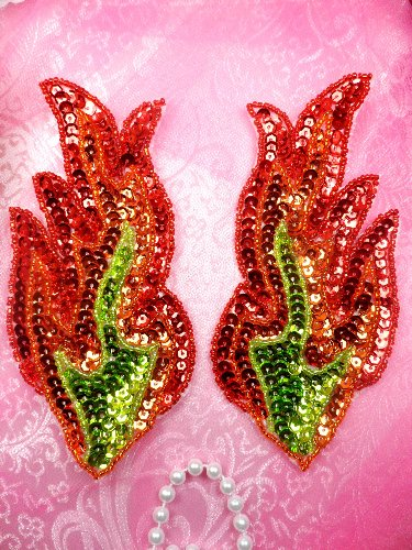 JB117 Appliques Flames Red Orange Green Sequin Beaded MIRROR PAIR 6\