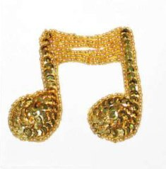 JB144 Music Note Applique Gold Double Sequin Beaded 3""